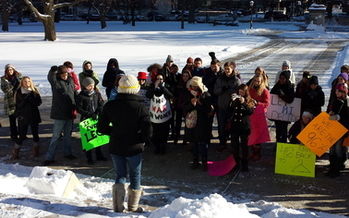 PHOTO: Dozens of Michiganders have rallied online and even braved the cold to show their opposition to legislation that requires women to purchase an insurance rider for an abortion. Photo courtesy of Michigan NOW.