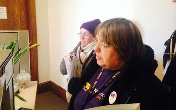 PHOTO: Pam Hansen (right) was among the home-care aides and clients who paid visits to their state legislators on Wednesday. Photo courtesy SEIU Healthcare 775NW.