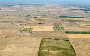 PHOTO: 2012 aerial view of drought-affected Colorado farm lands 70 miles east of Denver. Credit: USDA.