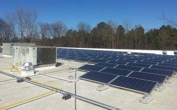 PHOTO: AdMark in Charlotte installed solar panels on the roof of this 40,000-square-foot building and says it's already seeing impressive energy savings. Photo courtesy: AdMark Graphic Solutions, LLC.