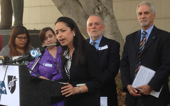PHOTO: Fifth grade teacher Gaby Ibarra at a recent news conference. The defense is now calling witnesses in a lawsuit that's putting California teacher employment laws to the test. Photo credit: CFT.