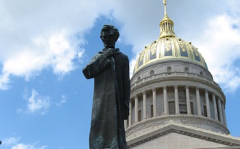 PHOTO: Defending an anti-abortion bill passed by the Legislature could cost West Virginia as much of a million dollars. PHOTO of the state Capitol from Wikipedia.