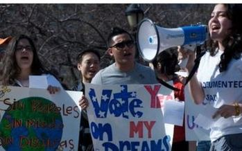 PHOTO: Undocumented immigrant students and their supporters are to hold a rally today in Hicksville to call on Gov. Andrew Cuomo to do all he can to press for passage of the NYS Dream Act. Photo courtesy Long Island Wins.