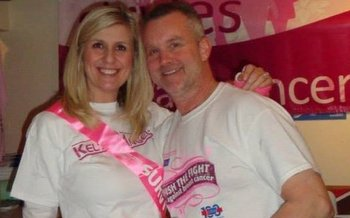 PHOTO: Wisconsin cancer survivor Kelly Krohn, shown here with her fiancee Scott, getting ready for the Making Strides Milwaukee walk, has become one of the top fundraisers in the Midwest for the American Cancer Society. Photo courtesy of Krohn.