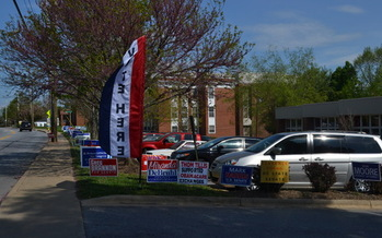 Photo: Polling places are cluttered with signs in advance of the primary next Tuesday. Photo: Stephanie Carson