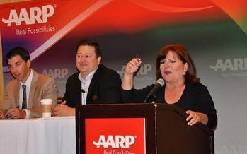 PHOTO: Encore Entrepreneur mentoring event on Saturday, April 26, at the Radisson Hotel in Whittier. From left to right: Ryan Beckley of Financial Partners Credit Union, Patrick Rodriguez of SBA and Patricia Perez, Executive Council Member for AARP CA. Photo credit: Charee Gillins