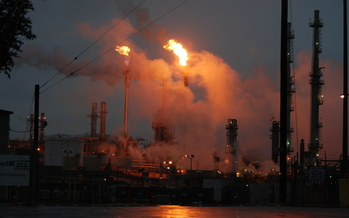 PHOTO: Oil flares like this one in the Los Angeles area are a common sight at refineries. The EPA is proposing rules for refineries to monitor and minimize toxic air emissions. Photo courtesy Jesse Marquez, Coalition for a Safe Environment.