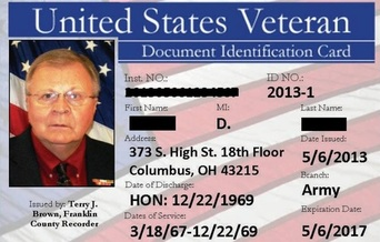 PHOTO: Over a dozen Ohio counties now offer a Veteran I.D. Card for discharged veterans. Picture courtesy of the Franklin County Recorder's Office.